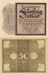 Germany 50 Mark Banknote, 1918, P-64a.1