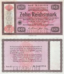 Germany 10 Reichsmark Banknote, 1934, P-208s1
