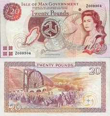 Isle of Man 20 Pounds Banknote, 1991, P-43bz
