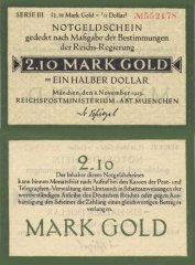 Germany 2,10 Goldmark = ½ Dollar Banknote, 1923, P-M/G:131.17