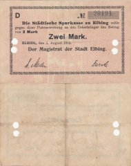 Germany/Notgeld 2 Mark Banknote, 1914, P-Die:091.2b