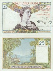 Guadeloupe 25 Francs Banknote, 1934, P-14a.2