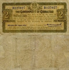 Gibraltar 2 Shillings Banknote, 1914, P-6