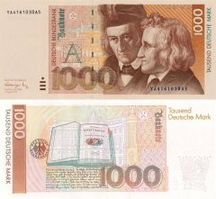 Germany/Federal Republic 1,000 Deutsche Mark Banknote, 1991, P-44ar.1