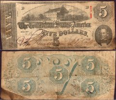 Confederate States of America 5 Dollars Banknote, 1863, P-59b