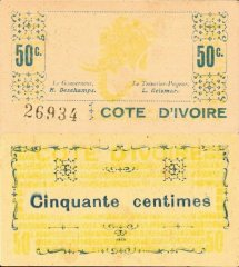 Ivory Coast 50 Centimes Banknote, 1943, P-6A