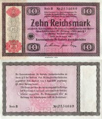 Germany 10 Reichsmark Banknote, 1934, P-208s2