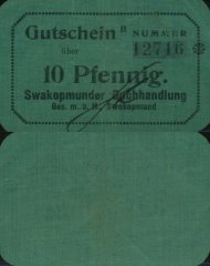 10 Pfennig German South West Africa's Banknote