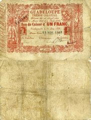 Guadeloupe 1 Franc Banknote, 1863, P-A13a.2