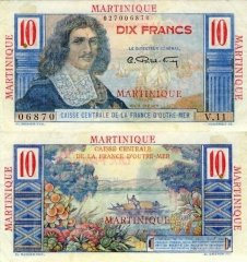 Martinique 10 Francs Banknote, 1947, P-28