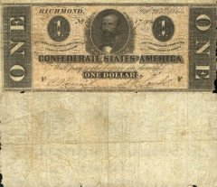 Confederate States of America 1 Dollar Banknote, 1864, P-65a