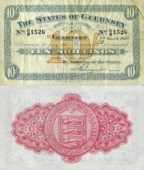 Guernsey 10 Shillings Banknote, 1940, P-15a.4