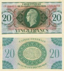 Martinique 20 Francs Banknote, 1944, P-24