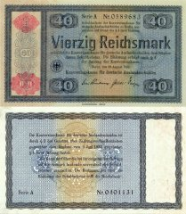 40 Reichsmark Germany's Banknote