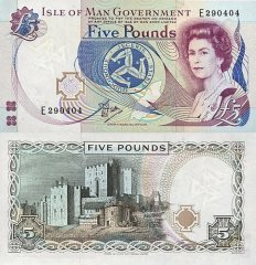 Isle of Man 5 Pounds Banknote, 1990, P-41a