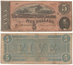 Confederate States of America 5 Dollars Banknote, 1864, P-67