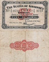 Guernsey 5 Shillings Banknote, 1941, P-19
