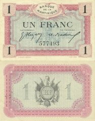 Martinique 1 Franc Banknote, 1915, P-10a.2