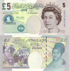 Great Britain/England 5 Pounds Banknote, 2002, P-391a