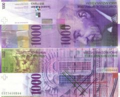 Switzerland 1,000 Francs Banknote, 1999, P-74b.1