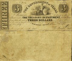 Texas 3 Dollars Banknote, 1838, P-17a.2