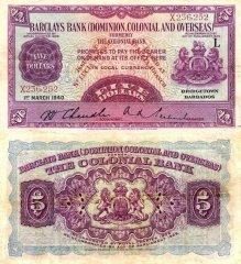 Saint Lucia 5 Dollars Banknote, 1937, P-S111