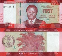 Liberia 50 Dollars Banknote, 2016, P-34a