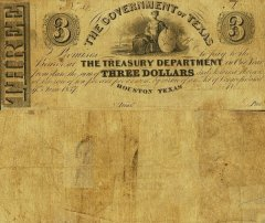 Texas 3 Dollars Banknote, 1838, P-17a.1