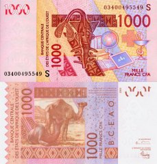 West African States 1,000 Francs CFA Banknote, 2003, P-915Sa