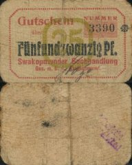 25 Pfennig German South West Africa's Banknote