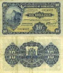 Gibraltar 10 Shillings Banknote, 1927, P-11