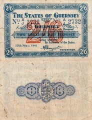 Guernsey 2 Shillings 6 Pence Banknote, 1941, P-20