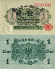 Germany 1 Mark Banknote, 1914, P-51c