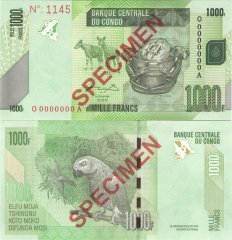 1,000 Francs Congo Democratic Republic's Banknote