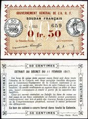 0.5 Franc French Sudan's Banknote