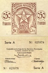 Tangier 0.50 Francos Banknote, 1941, P-2