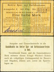 Germany/Notgeld ½ Mark Banknote, 1914, P-Die:042.1a