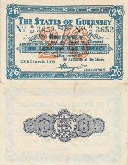 Guernsey 2 Shillings 6 Pence Banknote, 1941, P-18
