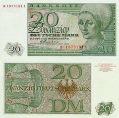 Germany/Federal Republic 20 Deutsche Mark Banknote, 1963, P-29 G