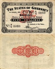 Guernsey 5 Shillings Banknote, 1943, P-31