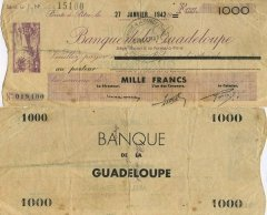 Guadeloupe 1,000 Francs Banknote, 1942, P-20 Fb