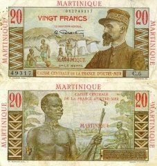 Martinique 20 Francs Banknote, 1947, P-29