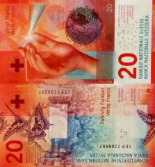 Switzerland 20 Francs Banknote, 2015, P-76b