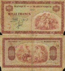 Martinique 1,000 Francs Banknote, 1942, P-21a
