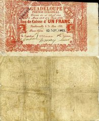 Guadeloupe 1 Franc Banknote, 1863, P-A13a.4