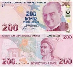 200 Turkish Lira Turkey's Banknote