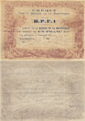 Martinique 1 Franc Banknote, 1878, P-5A
