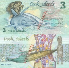 Cook Islands 3 Dollars Banknote, 1987, P-3s