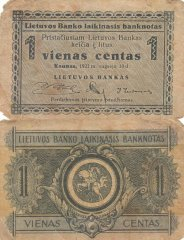Lithuania 1 Centas Banknote, 1922, P-1a