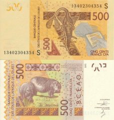 West African States 500 Francs CFA Banknote, 2013, P-919Sb